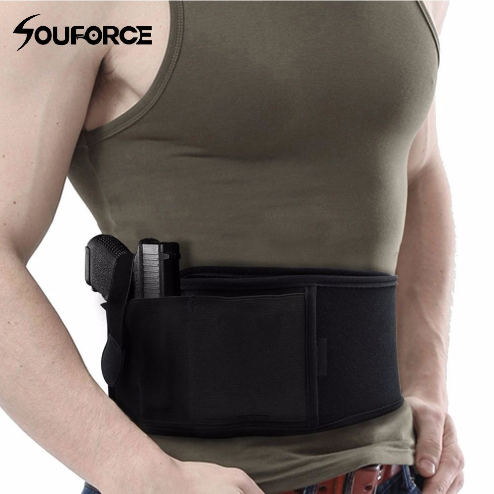 Right/Left Hand Tactical Universal Abdominal Band Holster for Glock 17 19 22 Series and Most Pistol Handguns 2 in 1 Combo