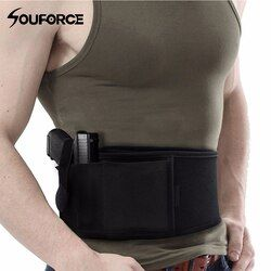 US Right/Left Hand Tactical Universal Abdominal Band Holster for Glock 17 19 22 Series and Most Pistol Handguns 2 in 1 Combo