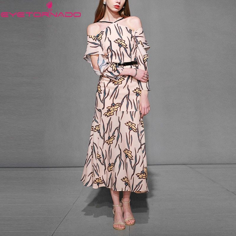 Women off the shoulder print party dress slim elegant sexy halter casual work office fashion vintage maxi dresses vestidos E6095