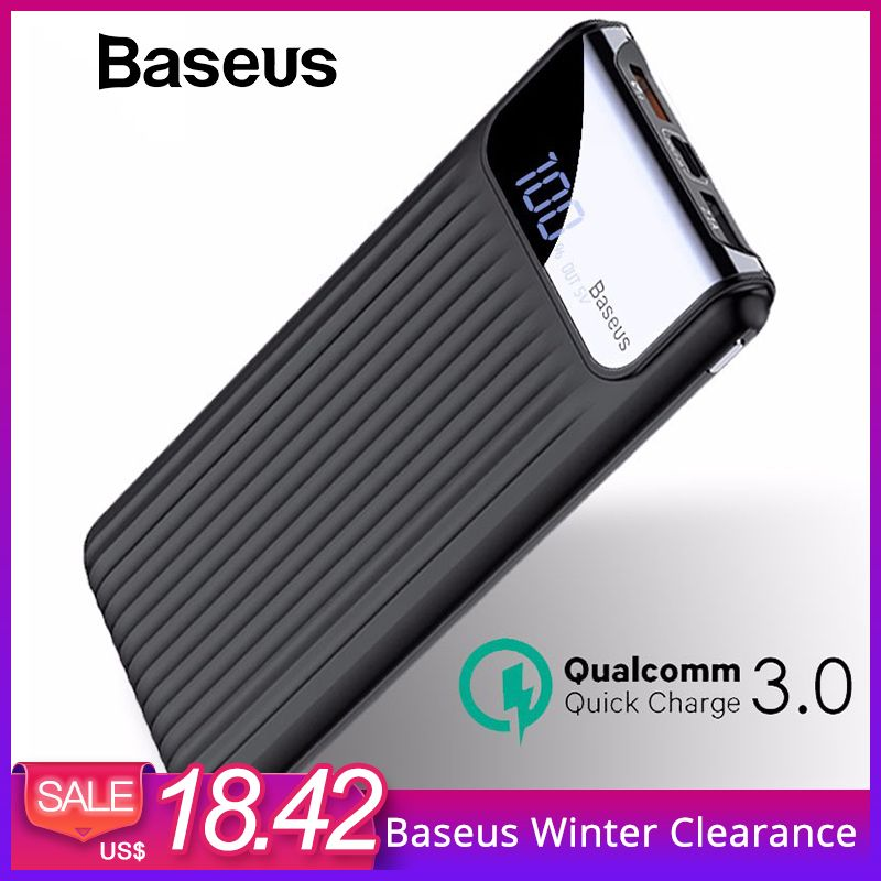 Baseus 10000 mAh LCD Charge Rapide 3.0 Dual USB Power Bank Pour iPhone X 8 7 6 Samsung S9 S8 xiaomi Powerbank Batterie Chargeur QC3.0