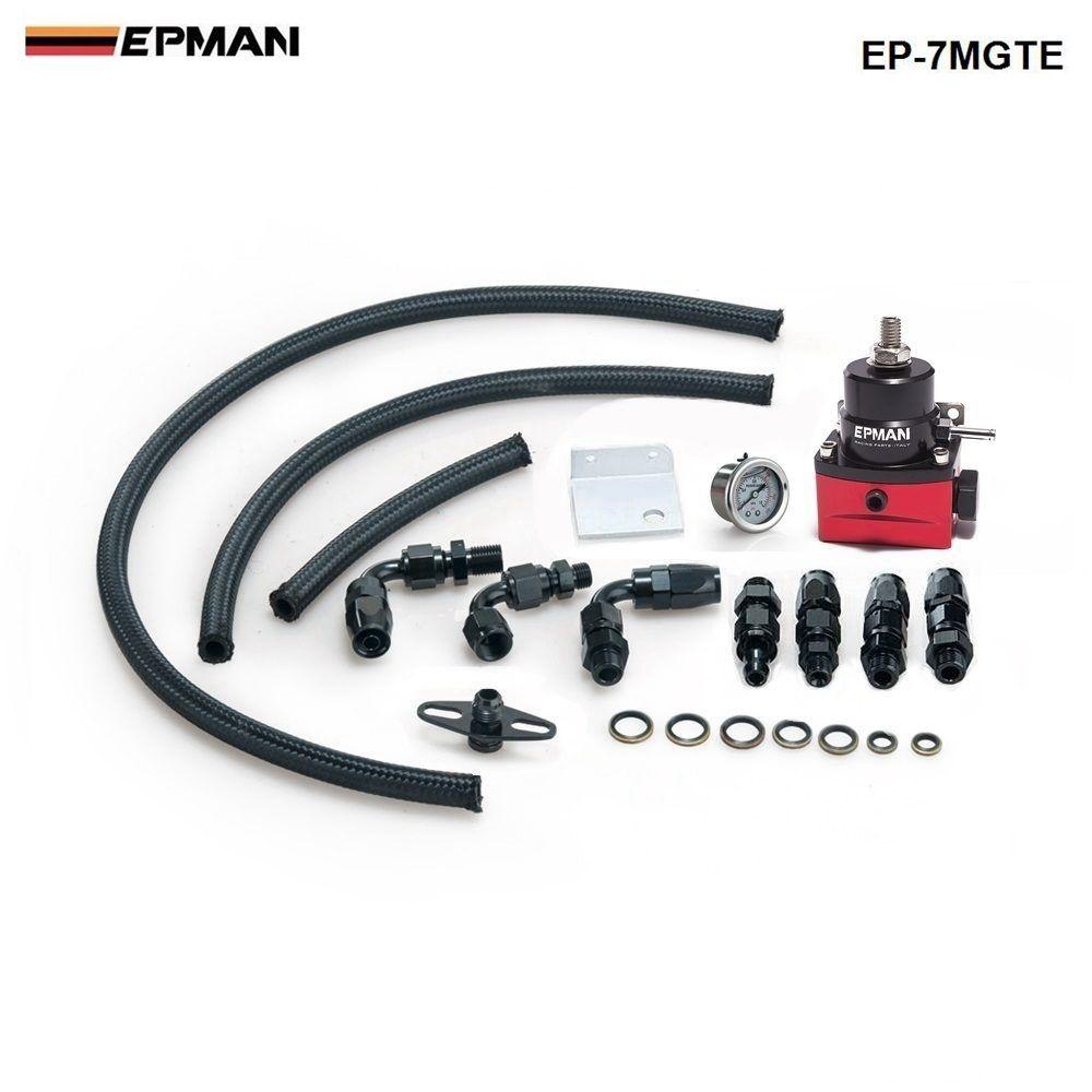 Racing Adjustable Fuel Pressure Regulator Gauge Kit BLACK +BLACK Fittings With Oil Line For BMW MINI Cooper R53 EP-7MGTE