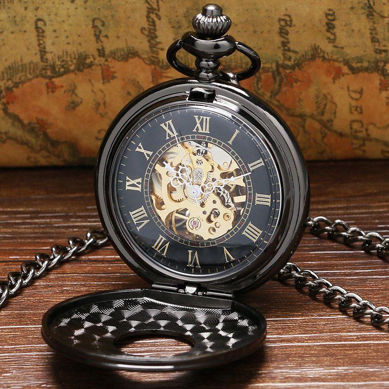 Винтаж роскошный черный металл Механические карманные часы стимпанк Часы Булавки цепи Для мужчин Для женщин кулон часы подарок Reloj De Bolsillo