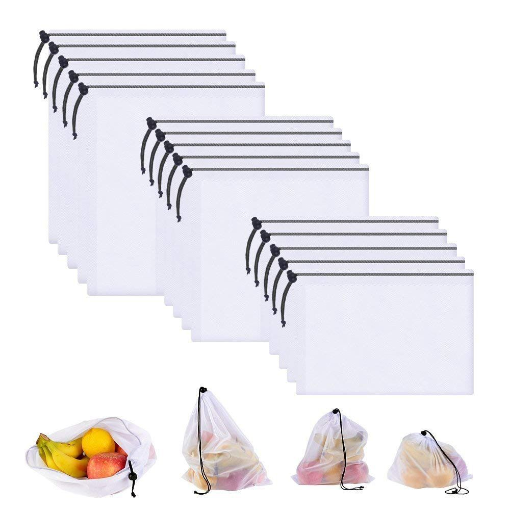 Sacs réutilisables écologiques de produit de maille de DCOS 15 pièces, sacs lavables transparents de maille d'épicerie pour le légume de Fruit de stockage