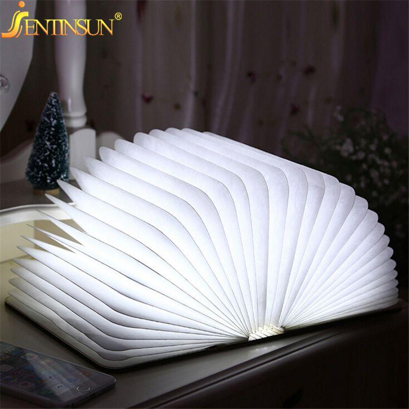 Мода 4.5 Вт деревянный складной светодиодный ночник Booklight Led USB Лампы для чтения Книги по искусству настольная лампа Перезаряжаемые Освещение...