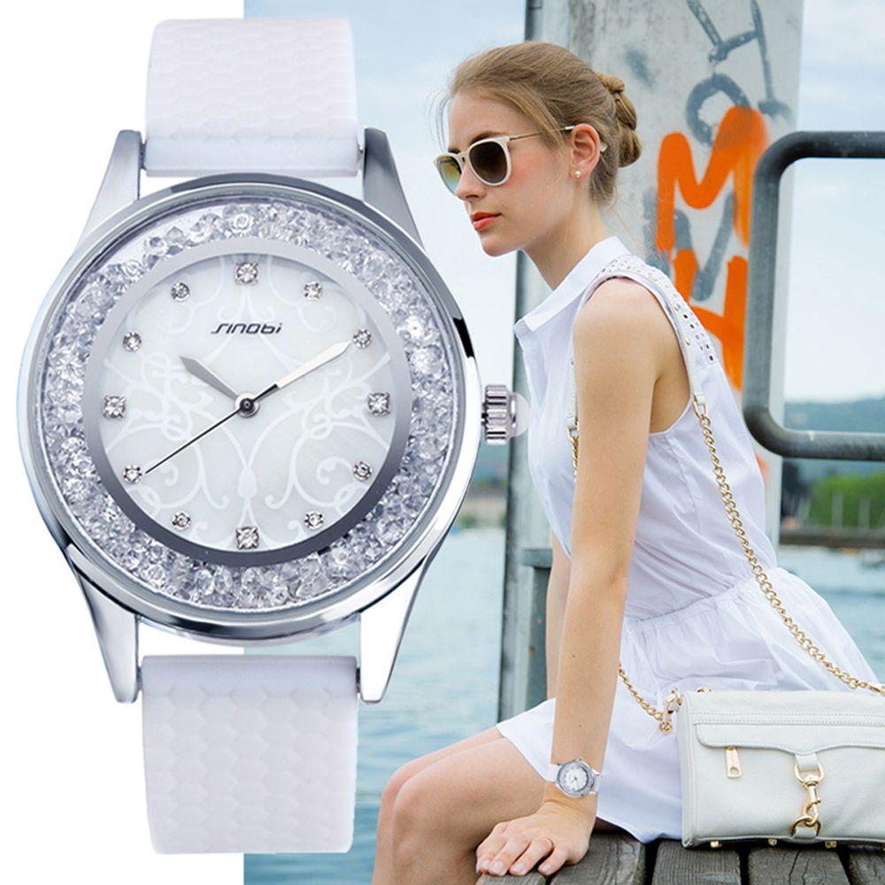 Sinobi moda Relojes de cuarzo mujeres diamantes reloj silicona reloj top de lujo marca señoras reloj mujer nuevo