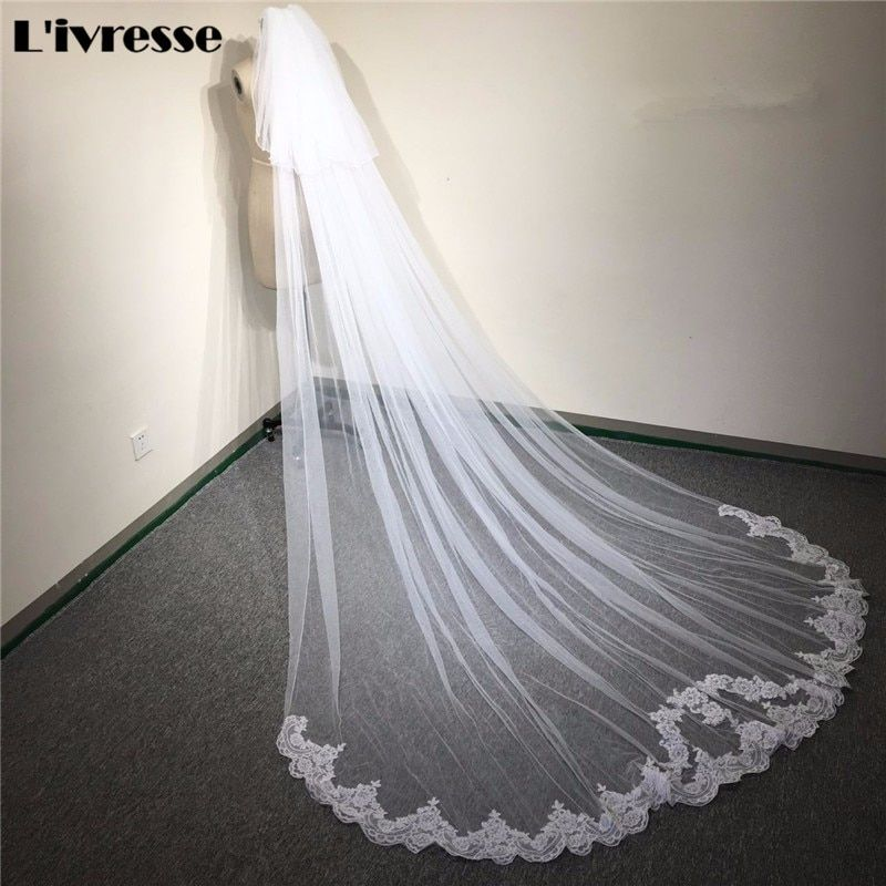 New Design Appliques 3 Meters Long Bridal Veils With Comb 2 layer Wedding Veils Lace Cathedral Bridal Veils