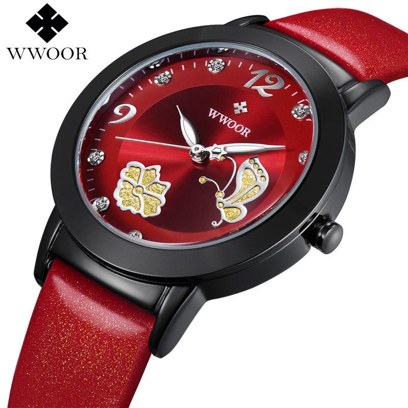 Neue Top Marke Blume Schmetterling Echtem Leder montre femme Casual Kleid Uhr Damen Handgelenk Quarzuhr Frauen Uhren Red Uhr