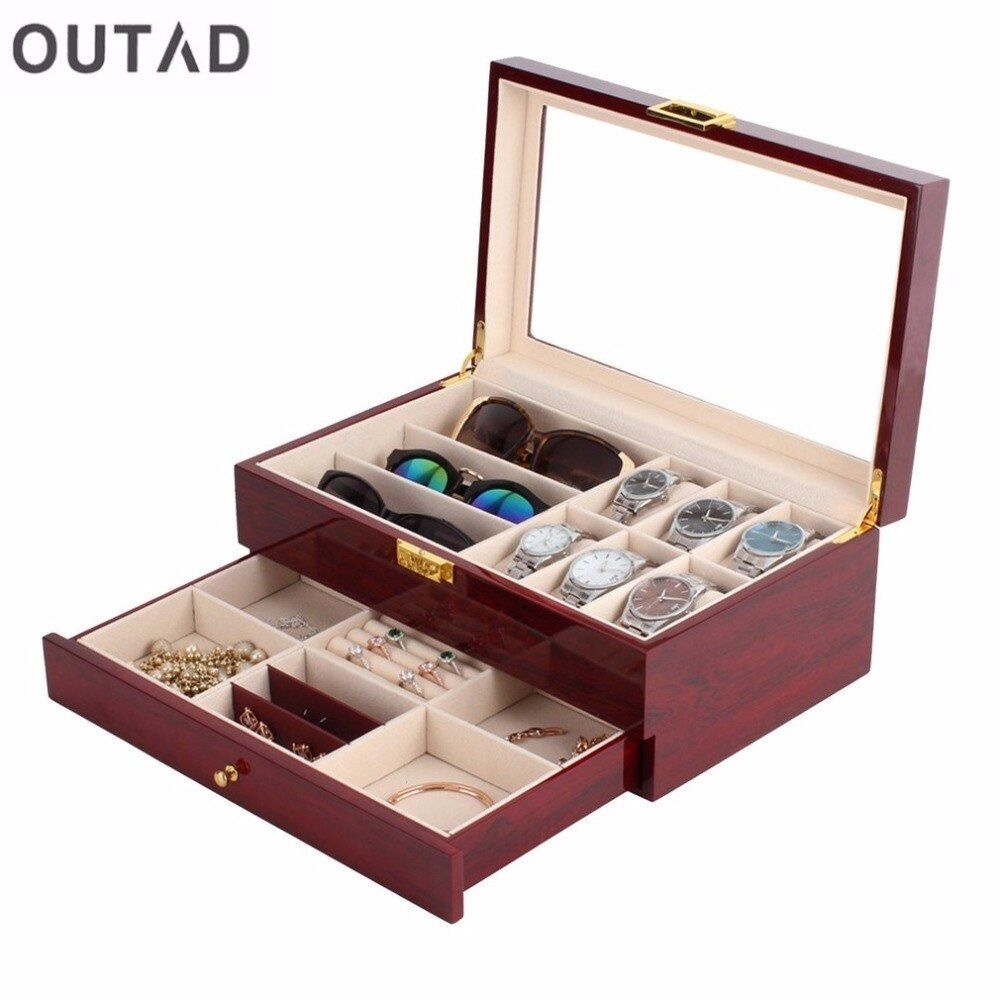 Casket Wood Watch Box Double Layers Suede Inside Paint Outside Jewelry Storage Watch Display Slot Case Container Organizer
