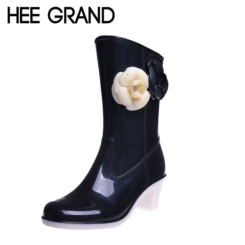 HEE GRAND Rain Boots High Quality 2017Floral Cute Boots Fashion Warm Waterproof Boots Water Shoes Woman XWX3087