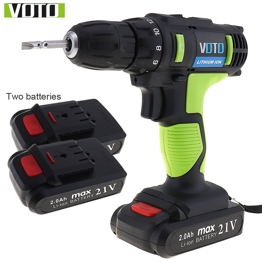 VOTO AC 100 - 240V Cordless 21V Electric Screwdriver with 2 Lithium Batteries and Two-speed Adjustment Button