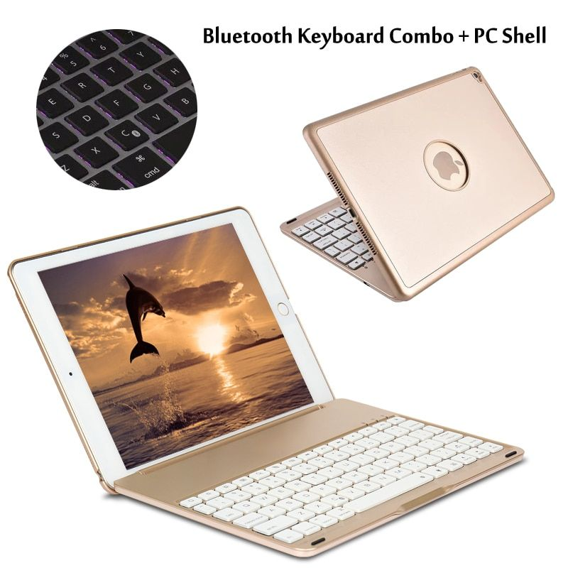 7 Colors Backlit Light Wireless Bluetooth Keyboard Case Cover For iPad 9.7 New 2017 2018 A1822 A1823 A1893 A1954 + Stylus + Film