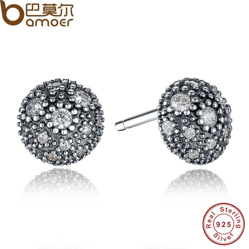 BAMOER NEW Presents 925 Sterling Silver Cosmic Stars Stud Earrings Clear CZ Fashion Jewelry Special Store PAS417