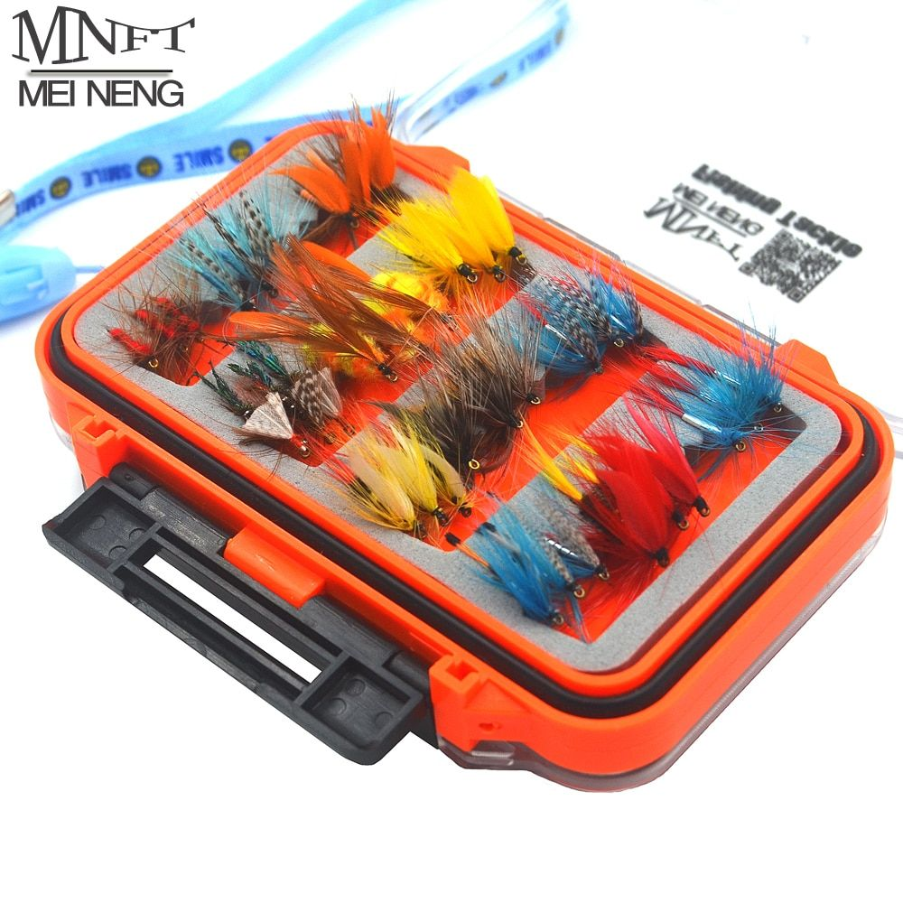 MNFT 72Pcs/Set Wet Dry Nymph Fly Fishing Lure Set Artificial Lnsect Bait Trout Fly Fishing Hooks Tackle With Waterproof Case Box