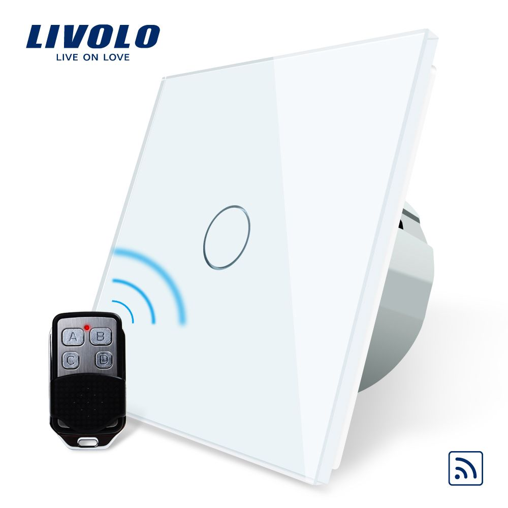 Livolo EU Standard Remote <font><b>Switch</b></font>, AC 220~250V Wall Light Remote Touch <font><b>Switch</b></font> VL-C701R-11 With Mini Remote Controller RT12