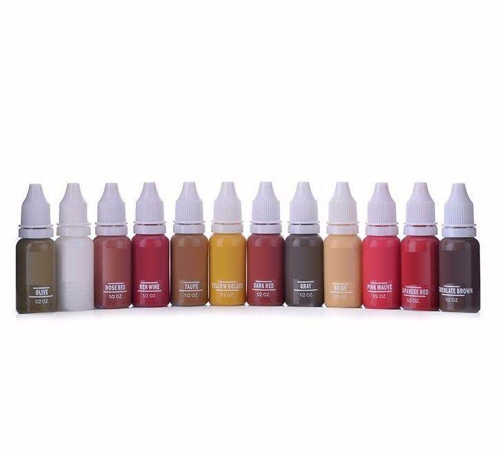 10 couleurs tatouage maquillage Permanent tatouage encre ensemble 15 ml une bouteille BioTouch Pigment pour sourcil broderie tatouage maquillage Pigment