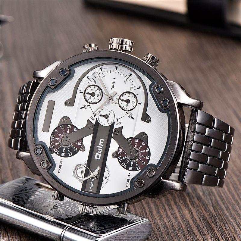 Oulm Super Big Watches Men Luxury Brand 4 Colors Large Size Quartz Clock Male Two Time Zone Men's Wristwatch reloj hombre