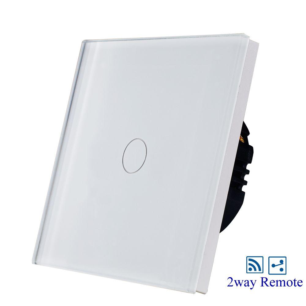 EU/UK 1gang 2way wireless remote light switch,white glass panel,AC110-240V, 1/2 Gang Wall Switch Hot Sale
