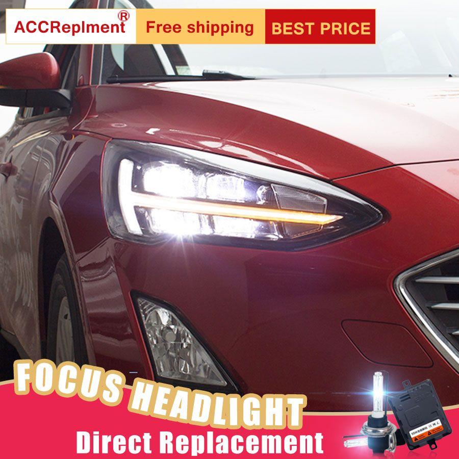 2 Pcs LED Scheinwerfer Für Ford Focus 2019 led auto lichter Engel augen ALLE LED KIT Nebel lichter LED Tagsüber laufende Lichter