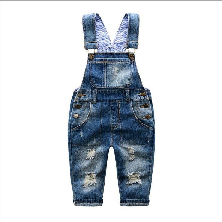 2018 Spring Autumn Baby Boys Denim Overalls Children Broken Hole Pants Baby Girl <font><b>Stripe</b></font> Belt Casual Jeans Pants Infant Jumpsuit