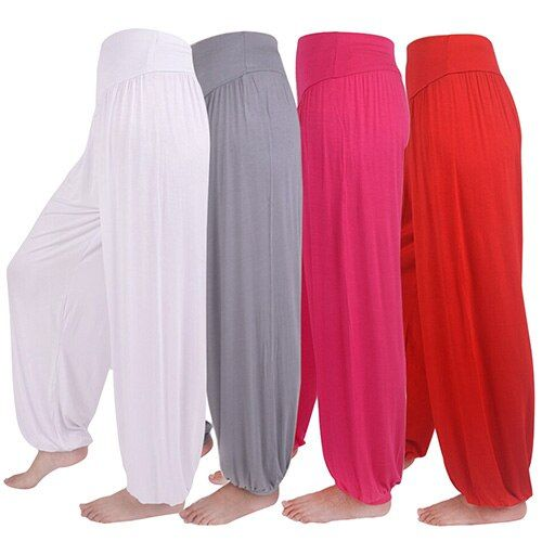 Femmes Confortables Sarouel Lâche Pantalons Longs Danse Du Ventre Boho Pantalon Large Taille Haute Extensible Harem Pantalon Flare Bloomers Pantalon