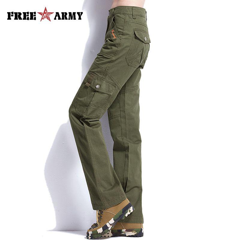 FreeArmy marque armée vert pantalon femmes Safari Cargo pantalon régulier militaire pantalon terreux jaune décontracté pantalon droit femme