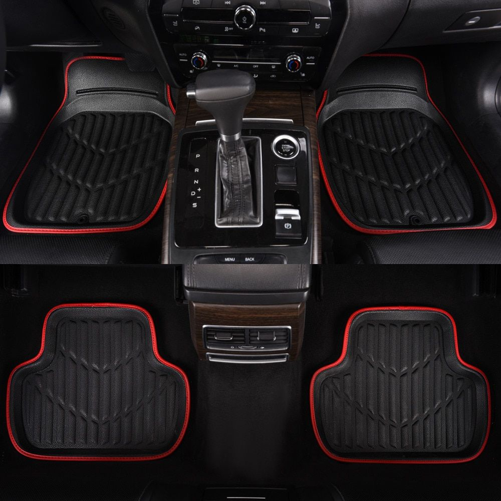 Car-pass Universal Car Floor Mat Red Pu Leather  Front Rear Waterproof Anti-dirty  Floor Mats  Car Rugs For 99% Cars