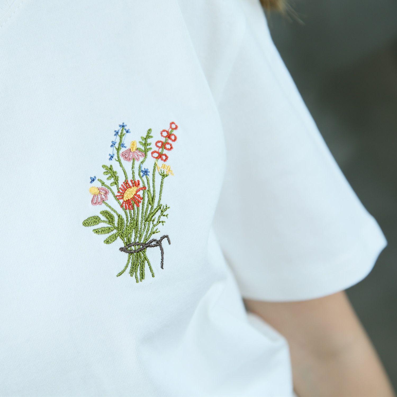 2016 été petite fleur brodé frais de base lâche décontracté manches courtes femme T-shirt