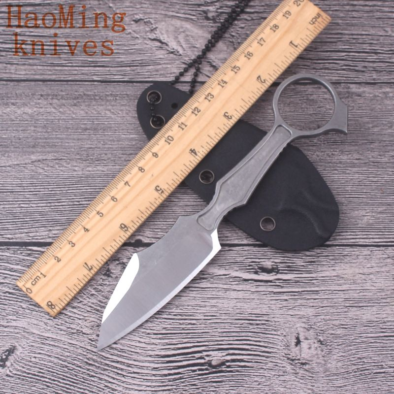 new Camping outdoor portable KYDEX GITFO fixed neck knife D2 steel hunting survival key chain K sheath knives tactical EDC tools