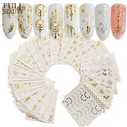 Plein Beauté 30 pcs Or Argent Nail Sticker Eau Plume Fleur Araignée Conception Decal Pour Nails Décoration Nail Art Manucure CHY
