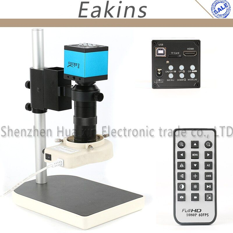 16MP 1080P HDMI USB Industrial Video Microscope Camera Set + 100X C-Mount Lens + 56 LED Ring Light + Stand For Industry Lab PCB