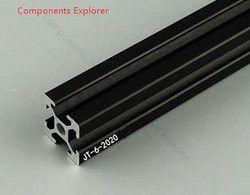 Beliebige Schneiden 1000mm 2020 Schwarz Aluminium Extrusion Profil, Schwarz Farbe.