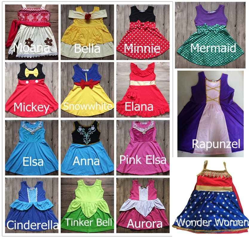 Vacation Play Princess Dress Birthday Elsa Anna Costume Dress Moana Belle Mermaid Minnie Mickey Party Cosply Dress Wonder Women