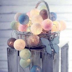 Гирлянда хлопок связка шаров огни диаметр 6 см гирлянда из светящихся хлопковых шариков Цепи Guirlande Lumineuse светодиодный свет вечерние украшен...