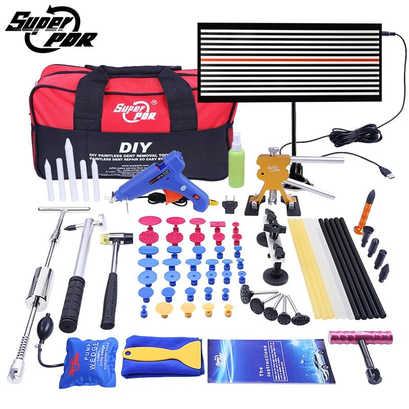 PDR Tools Paintless Dent Repair Tools Dent Removal car Kit <font><b>LED</b></font> Reflector Board Dent Puller Glue gun pump wedge Hand Tool Set