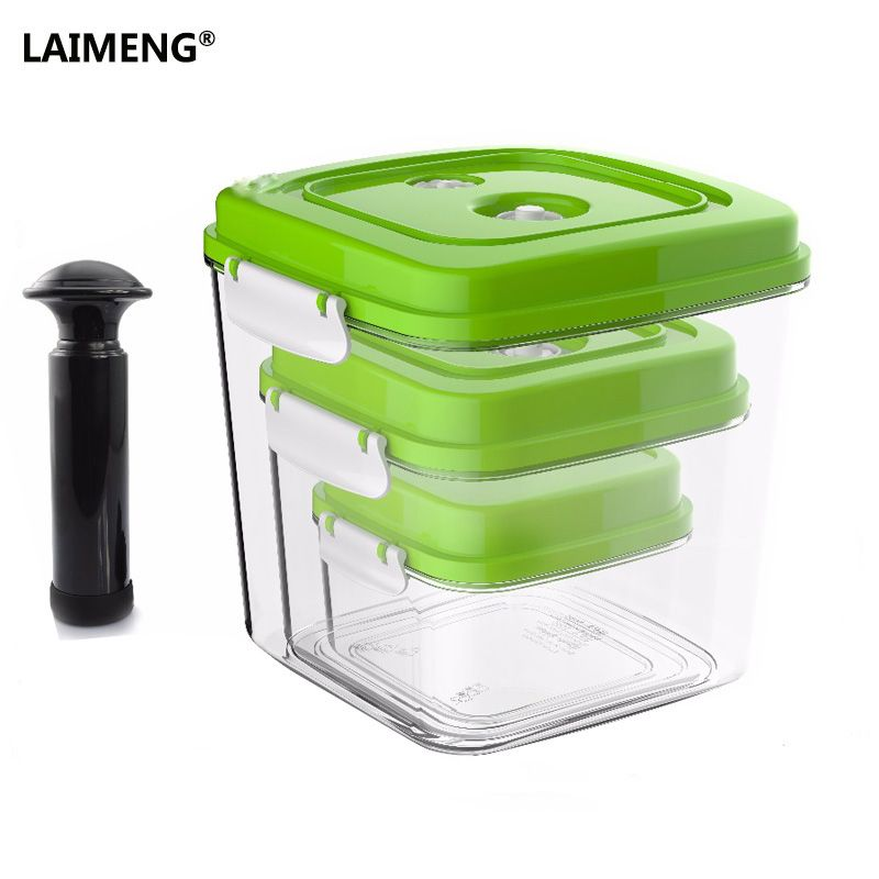 ÉCRAN LAIMENG Vide Conteneur de Grande Capacité Plus De Stockage De Nourriture Carré En Plastique Conteneurs Avec Pompe 500 ml + 1400 ml + 3000 ml S166
