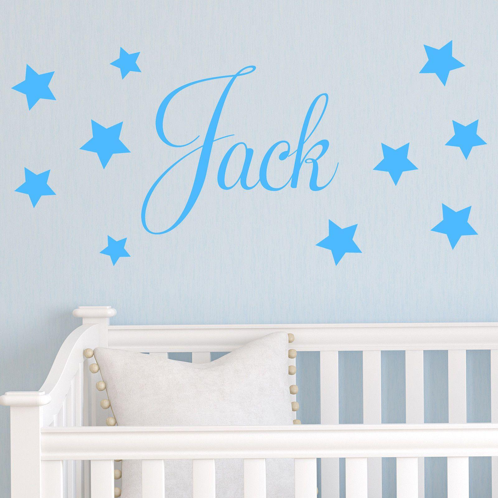 D201 bébé garçons Sticker mural-étoiles personnalisées nom de l'enfant chambre pépinière vinyle autocollants étoile décalque pour enfants chambre décor à la maison
