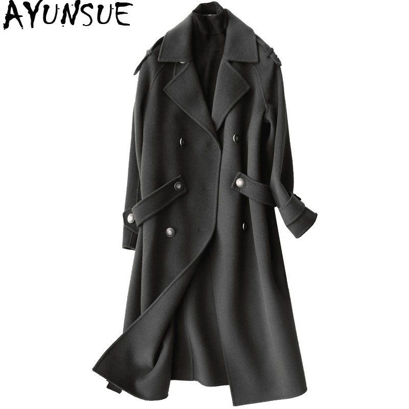 AYUNSUE 2018 Fashion 100% Wool Coat Female Autumn Winter Long Jackets Women Trench Coats Women's Clothing casaco feminino YQ1132