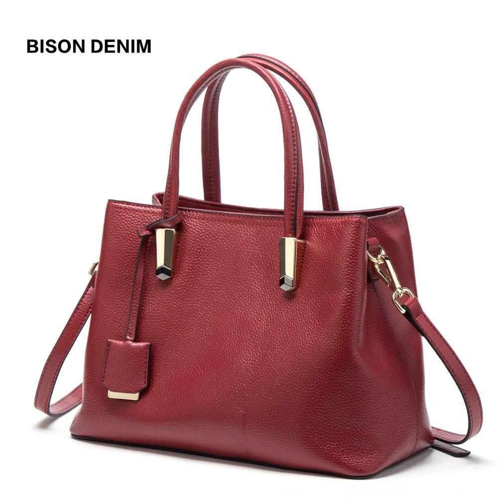 BISON DENIM Luxus Red Einkaufstasche Frauen Handtaschen Rindsleder Echtes Leder Handtasche Große Kapazität Tasche Sling Taschen Für Frauen N1484