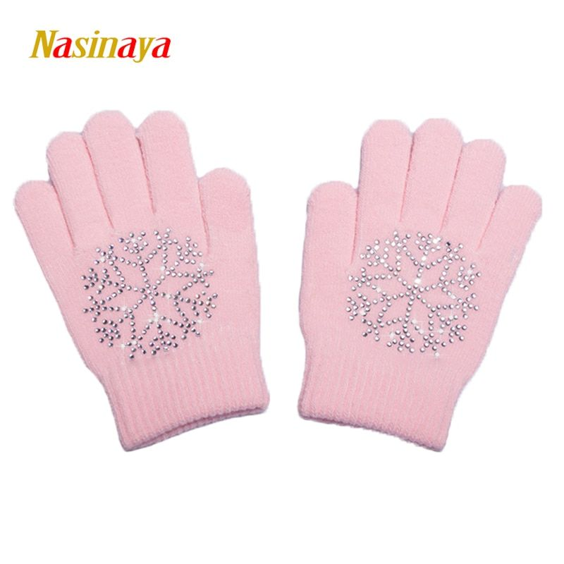 10 Colors Magic Wrist Gloves Figure Skating Ice Training Gloves Exquisite Warm Fleece Thermal Safety Child Adult Snow Rhinestone