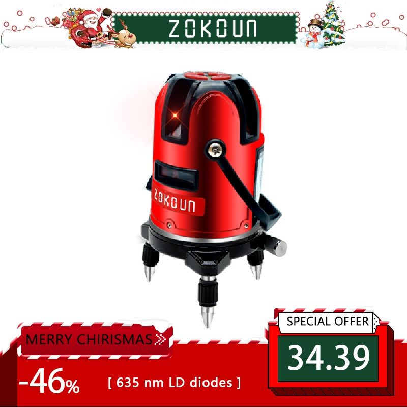 EU plug red 5 lines 6 <font><b>points</b></font> self-leveling 360 rotary cross line laser level tilt slash and detector outdoor mode available