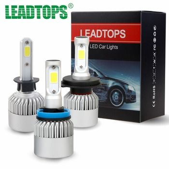 Leadtops H1 H4 LED H7 H11 9003 HB2 H3 H8 H9 удара S2 авто фар 72 Вт 8000LM высокое все в одном автомобилей лампы 6500 К 12 В ea