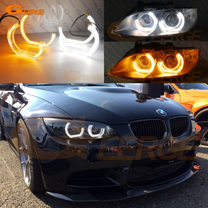 For BMW 3 Series E90 E92 E93 M3 Coupe and cabriolet 2007-2013 DTM M4 Style LED Angel Eye Kit Dual White Amber switchback