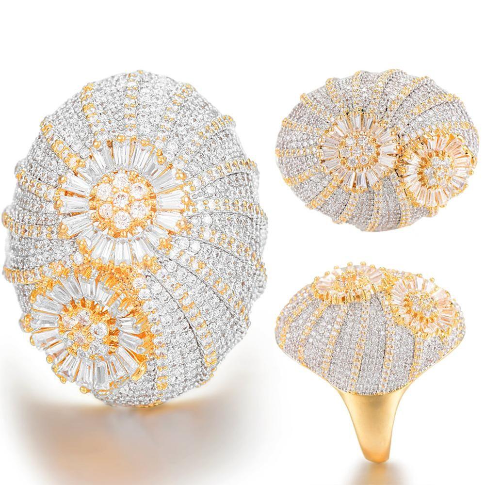 GODKI audacieux piles anneau de luxe fleur roue CZ cubique Zircon CZ bague pour les femmes mariée fiançailles mariage Dubai bagues