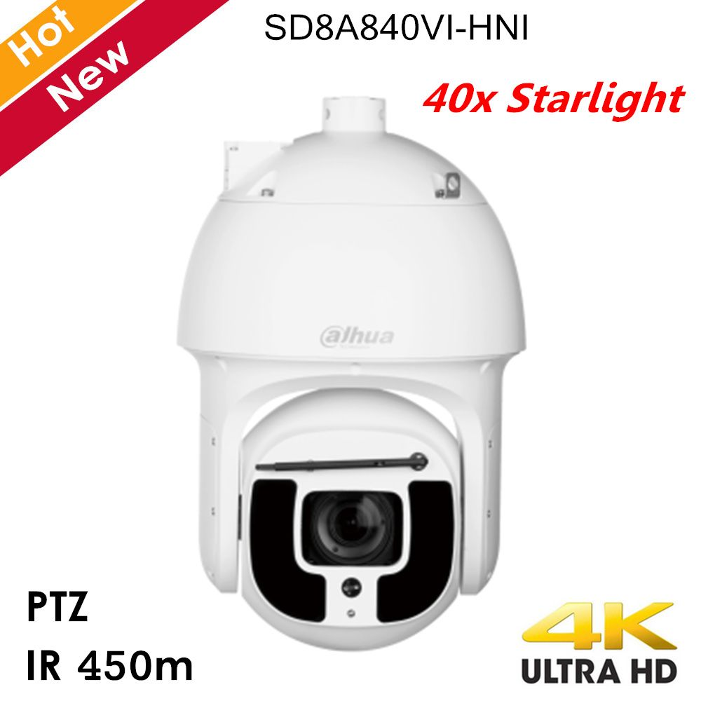 Dahua 4K 40x Sternenlicht IR PTZ Kamera Unterstützung Hallo-PoE IR abstand 450m 40x Optische zoom Wasserdicht netzwerk Kamera für IP Systeme
