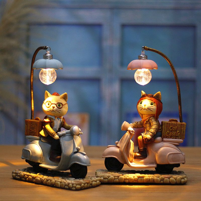 Retro Style Cat Motor Led Night Light Cartoon Rsin Craft Kids Home Decor Table Lamp Ornaments Birthday Wedding Xmas Gifts