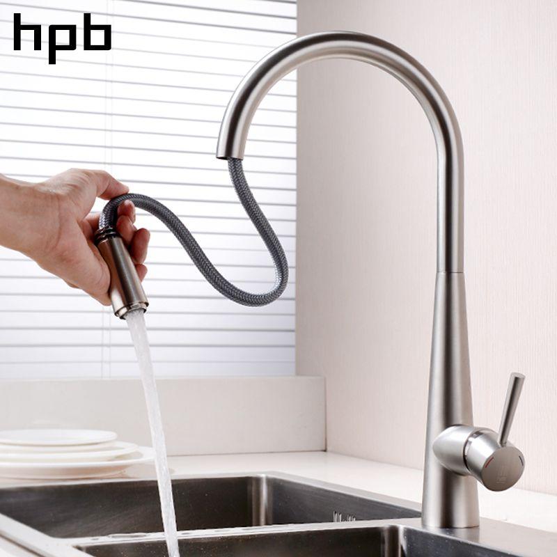 Блаватская латунь хром матовый Pull Out Спрей кран для Кухня одной ручкой смеситель Бортике горячей и холодной воды HP4101