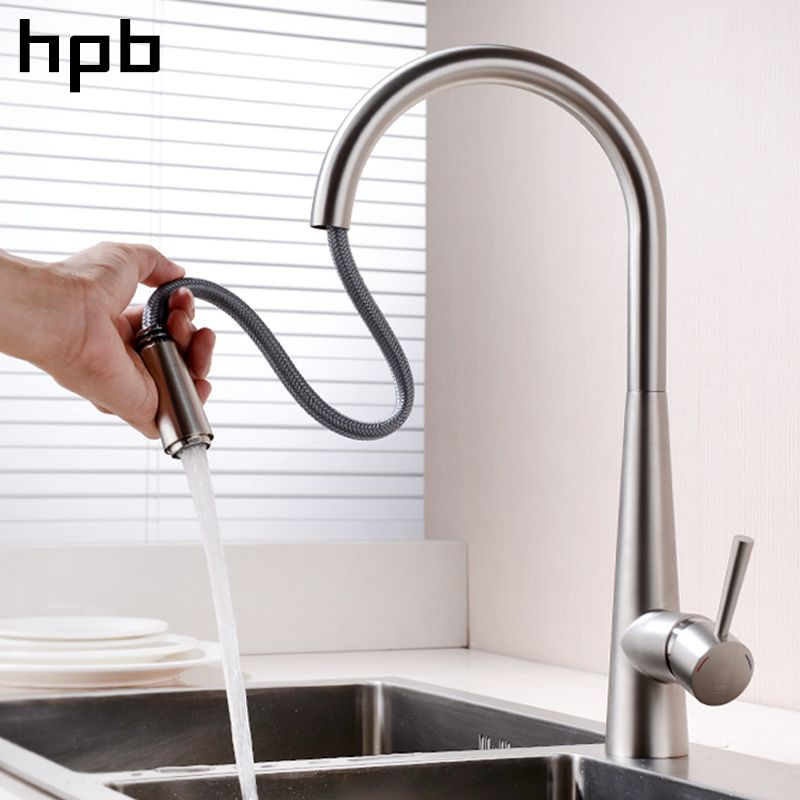 HPB Brass Chrome Brushed Pull Out Spray Faucet for Kitchen Single Handle Mixer Tap Deck Mounted Hot And Cold Water HP4101