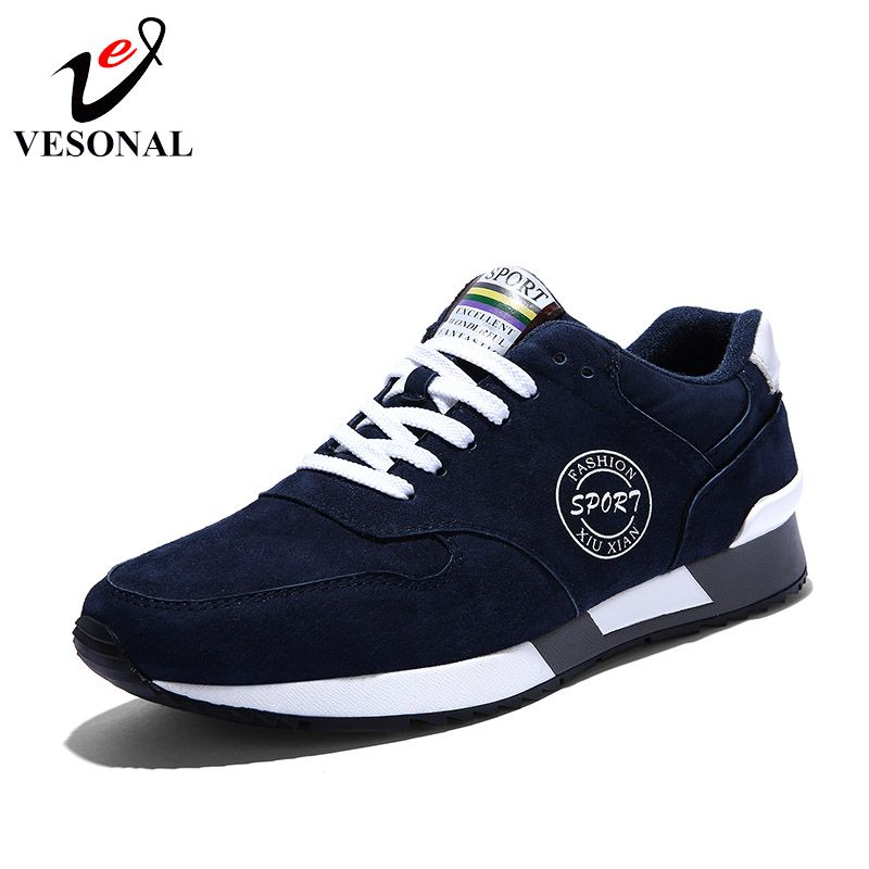 VESONAL Genuine Leather Quality Casual Male Shoes For Men Sneakers Wedge Autumn Winter Comfortable Fashion Walking Footwear 9931