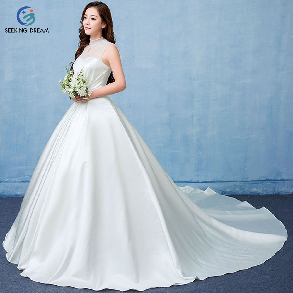 2017 New Sleeveless White Soft Tulle High Neck Taffeta Wedding Dress Train Lace Up Long Bridal Gowns Customize Plus Size DLT202
