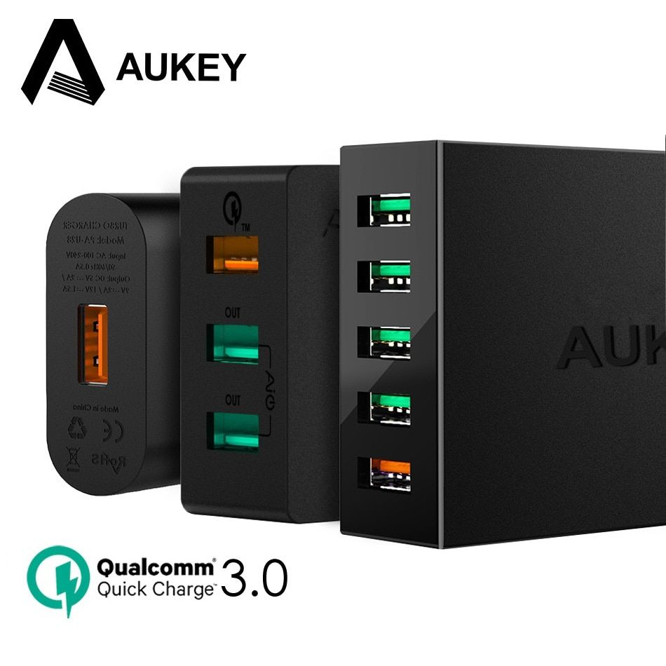 AUKEY Quick Charge 3.0 USB <font><b>Charger</b></font> QC3.0 Mobile Phone Fast Wall <font><b>Charger</b></font> For Xiaomi mi7 Samsung s8 iPhone X 8 7 iPad Power Bank